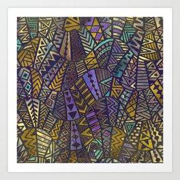 Tribal  Boho Pattern Gold and Purples Art Print