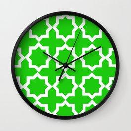 Green and White Lattice Design Wall Clock