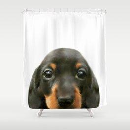 Dachshund baby Dog illustration original painting print Shower Curtain