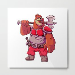 Warrior bear with axe Metal Print