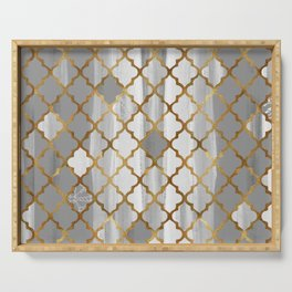 Moroccan Tile Pattern In Grey And Gold Serving Tray