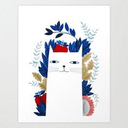 white cat with botanical illustration in blue Art Print