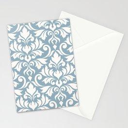 Flourish Damask Art I Cream on Blue Stationery Cards