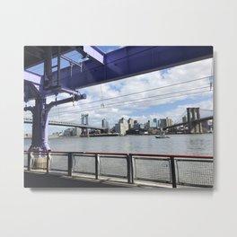 Brooklyn and Manhattan Bridges, East River, New York City Metal Print