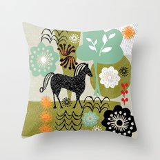 magical horse garden Throw Pillow