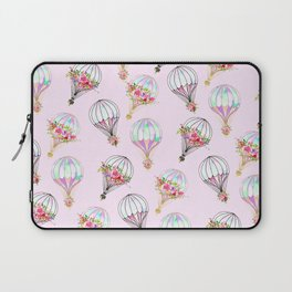 Girly pink lilac watercolor floral hot air ballons Laptop Sleeve