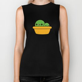 Cute cactus in yellow pot Biker Tank