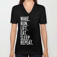 Run, Sleep, Repeat Gym Quote Unisex V-Neck