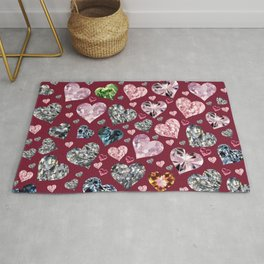 Heart Diamonds are Forever Love Maroon Rug