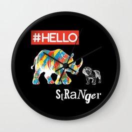 New Friend Rhino Funny Bulldog-Hello Stranger Wall Clock