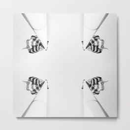 4 flag poles, black and white Metal Print
