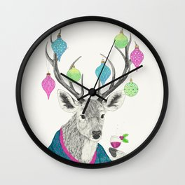 Mr. Deer gets festive  Wall Clock