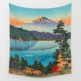 Tsuchiya Koitsu Vintage Japanese Woodblock Print Fall Autumn Mount Fuji Wall Tapestry