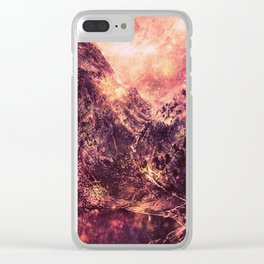 Galaxy Mountains : Mauve Burgundy Clear iPhone Case