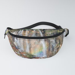 Autumn Mountain Waterfall With A Rainbow Fanny Pack