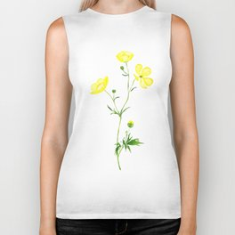 yellow buttercup flower watercolor Biker Tank