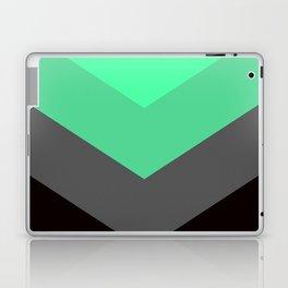 Mint Green Gray Chevron Stripes Laptop & iPad Skin