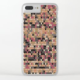 Heathered knit textile 2 Clear iPhone Case