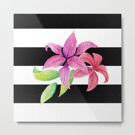 Stripes & Flowers Metal Print