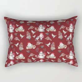 Red Gnome Pattern - Christmas Rectangular Pillow