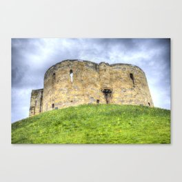 York Castle And Daffodils Canvas Print