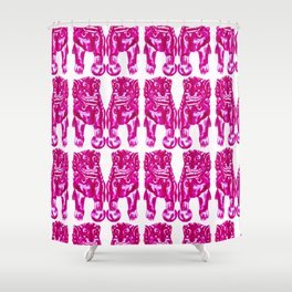 Chinese Guardian Lion Twins in Pink Peony Shower Curtain