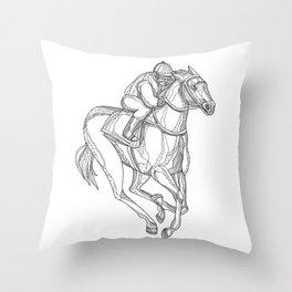 Horse Racing Jockey Doodle Art Throw Pillow
