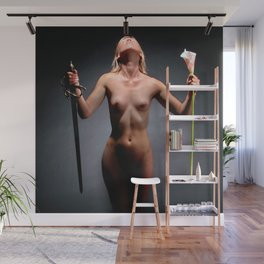 0451s-SC The Sword or the Lilly Art Nude Fit Model Sensual and Free Wall Mural