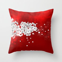 Red skies and white sakuras Throw Pillow