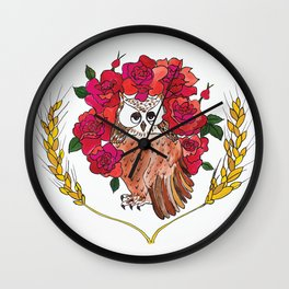 Owl with Rose Halo Wall Clock