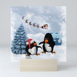 Funny penguin Mini Art Print
