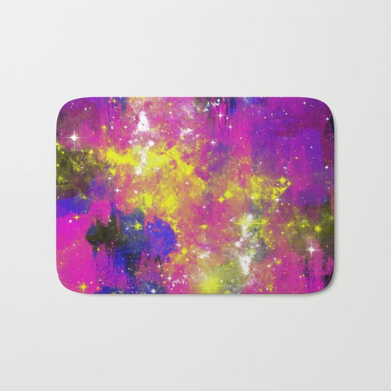 Journey Through Space - Abstract purple and blue, space themed artwork Bath Mat