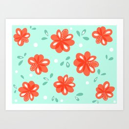Cheerful Red Flowers Pattern Art Print
