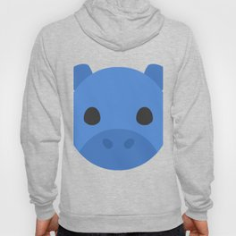 Cartoon Hippo Face Hoody