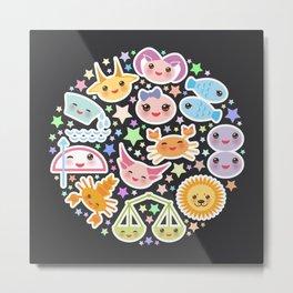 Funny Kawaii zodiac sign,  virgo, aries, gemini, cancer, aquarius, taurus, leo, libra sagittarius Metal Print
