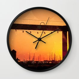 Yacht Basin Marina View Sunset Southport NC Wall Clock