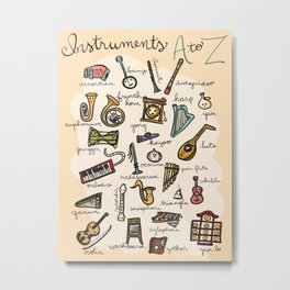 Instruments A to Z Metal Print