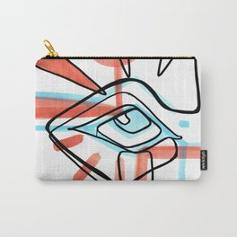 Abstract Open Eye Red and Blue Line Drawing Carry-All Pouch