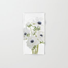 white anemone flower  watercolor painting Hand & Bath Towel