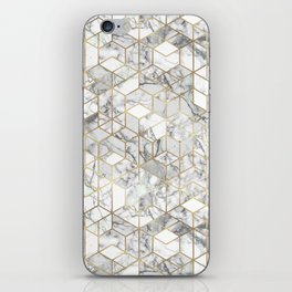 White marble geomeric pattern in gold frame iPhone Skin