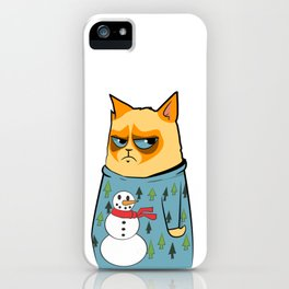 Ginger cat in Holiday Sweater 01 iPhone Case