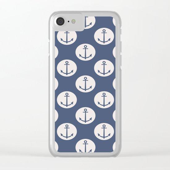 Blue Nautical Ships Anchor Clear iPhone Case