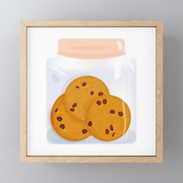 Chocolate chip cookie, homemade biscuit in glass jar Framed Mini Art Print