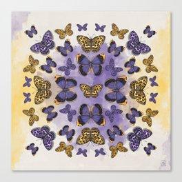 Butterfy mandala. Purple and yellow buterflies. Insect mandala Canvas Print
