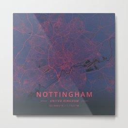 Nottingham, United Kingdom - Neon Metal Print