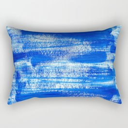 Cool & Calming Cobalt Blue Paint on White  Rectangular Pillow