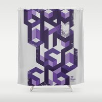 deadmau5 Shower Curtains featuring Gravity Levels - Geometry by Sitchko Igor