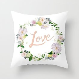 Love Pink Flower Wreath Throw Pillow