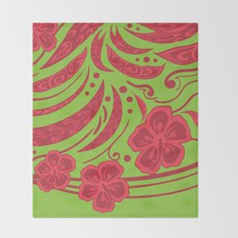Samoan Polynesian Floral Throw Blanket