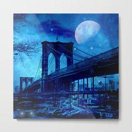 Full Moon Over Brooklyn Bridge Metal Print